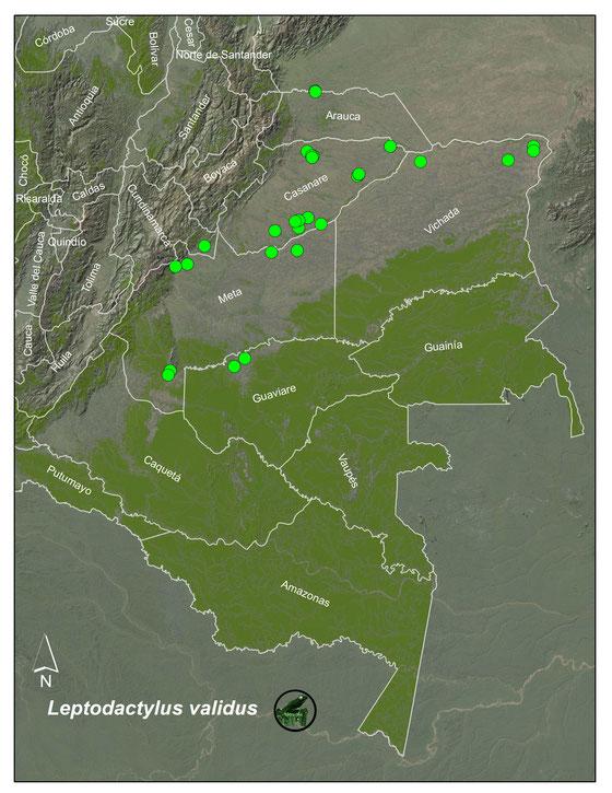 Lista y Mapas de anfibios de Colombia