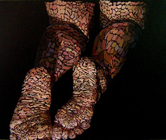 """""""Génuflexion"""" / Acrylique sur toile / 25x30 cm / Kinder-k 2010"""