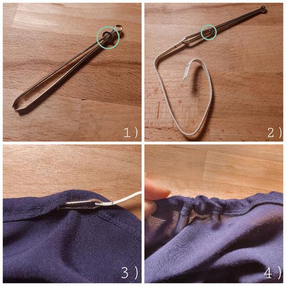 1) Der kleine Ring wird nach oben geschoben, damit sich die Nadel öffnet. 2) Das Gummiband wird eingeklemmt und der Ring wird wieder nach unten geschoben, damit sich die Nadel schließt.  3) + 4) Nun kann die Nadel durch den Tunnel gezogen werden.