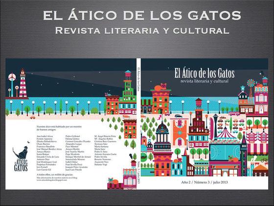 Portada y contraportada de la revista literaria y cultural El Ático de los Gatos. Año 2. Número 3. Julio 2013.
