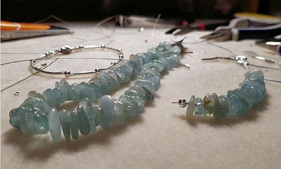 Edelsteinhalskette, Halskette Aquamarin, Halskette, blaue Halskette
