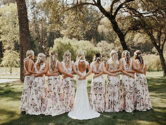 Demoiselles d'honneur robes longues fleuries