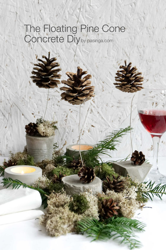 DIY Floating Pine Cone Christmas Concrete Tutorial