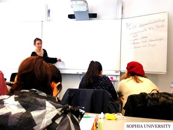 履修しているドイツ語の授業の様子。