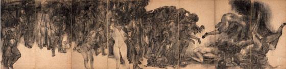 原爆の図 第1部 《幽霊》 1950年 屏風四曲一双 縦1.8m×横7.2m