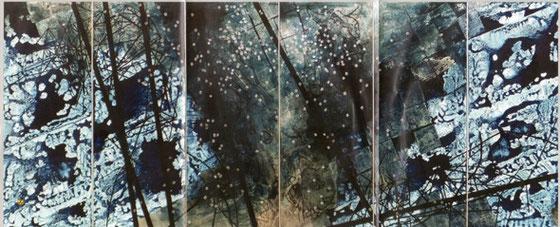 青い花2015アクリル、銀箔、キャンバス130×318Cm-yamashita