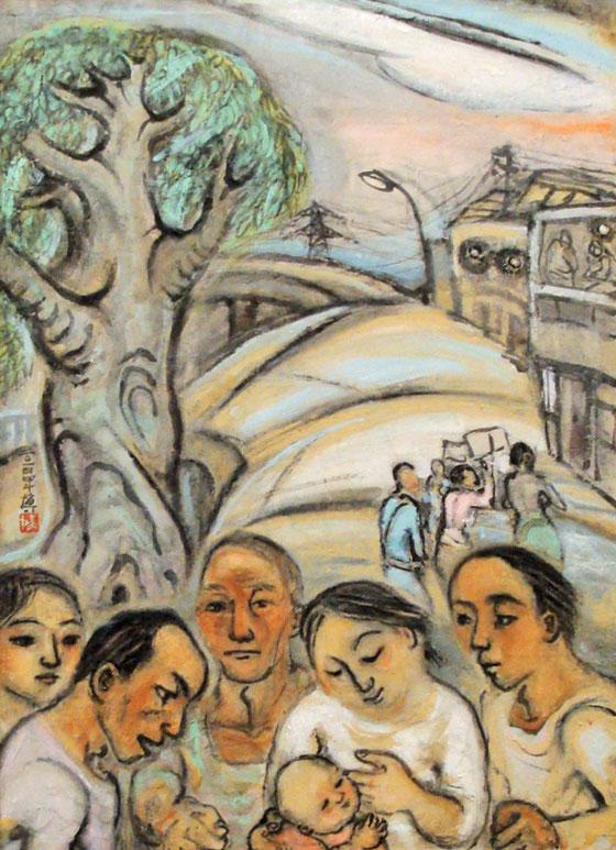岡本博 街で 平和美術展 2015