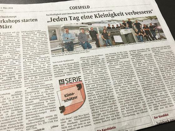 Nachhaltigkeit und Umweltschutz in der Druckerei Satzdruck in Coesfeld (NRW)