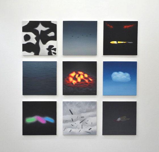 Memory 1, je 50 x 50 cm, Öl auf Leinwand, 2013