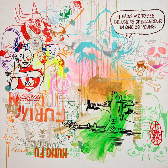 JUDAS ARRIETA  Endless fury.  150x150cm  acrylic & marker on canvas  2012