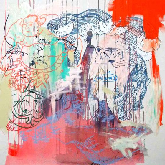 JUDAS ARRIETA Heroes have not homeland  150x150cm  acrylic & marker on canvas  2010