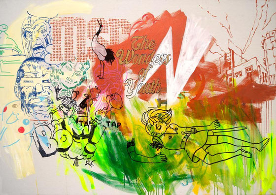 JUDAS ARRIETA The wonder of youth  120x170cm  acrylic & marker on canvas  2012
