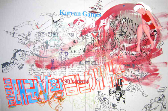 JUDAS ARRIETA Korean games  200x300cm  acrylic & marker on canvas  2010