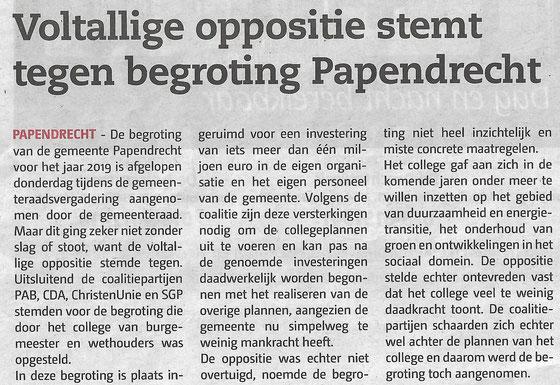Papendrechts Nieuwsblad 14 november 2018