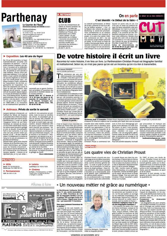 Courrier de l'Ouest 22 novembre 2012