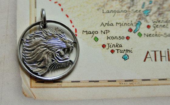 Münzsagewerk Katrin Thull | Äthiopien Löwe silberfarben