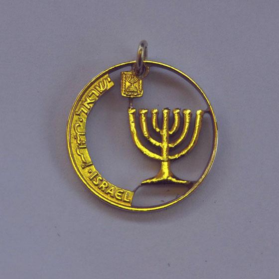 Münzsägewerk Katrin Thull | Israel - Menora goldfarben