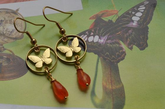Münzsägewerk Katrin Thull | Philippinen - Schmetterling mit Stein Ohrringe
