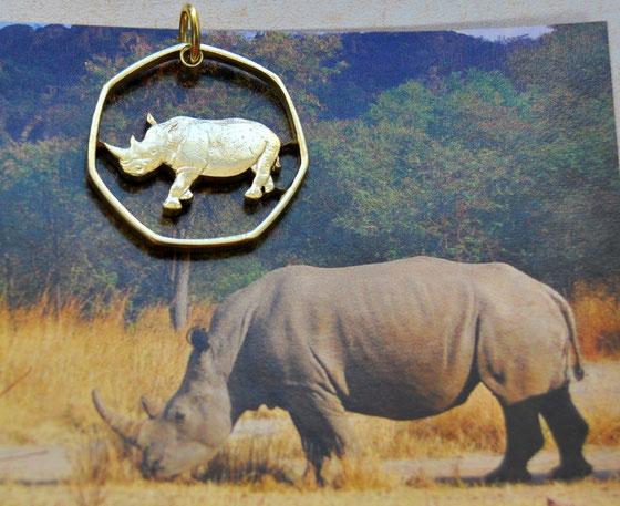 Münzsagewerk Katrin Thull   Botswana - Nashorn