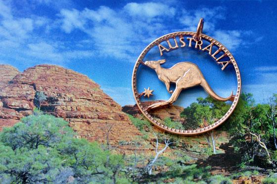 Münzsagewerk Katrin Thull | Australien Känguruh 1 Penny komplett