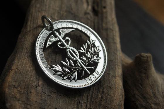 Münzsagewerk Katrin Thull | Bolivien - Aeskulapstab mit Olivenzweigen
