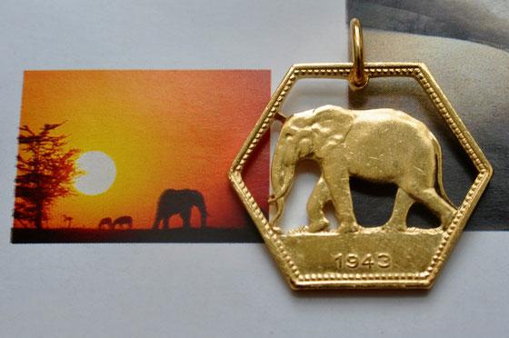 Münzsagewerk Katrin Thull | Belgisch Kongo - Elefant sechseckig