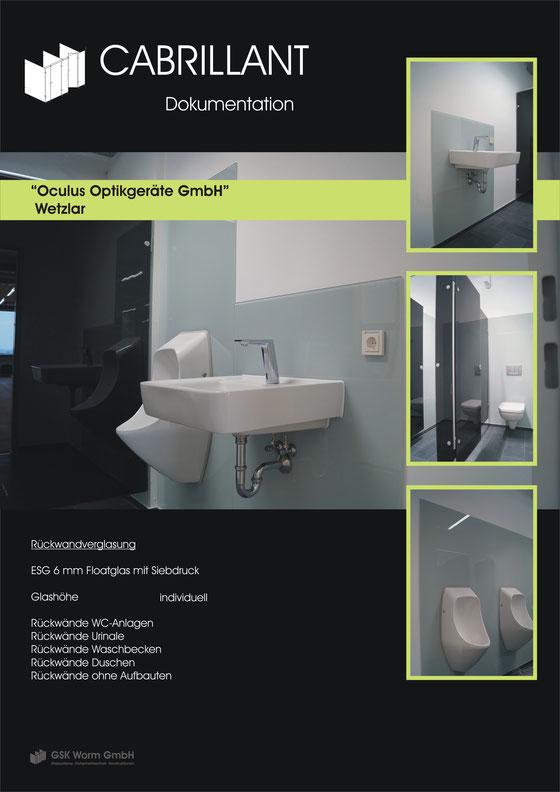 Rückwandverglasung, OCULUS Optikgeräte GmbH, Wetzlar