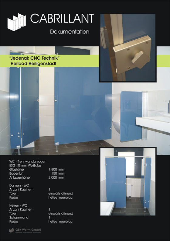 WC - Trennwände CABRILLANT, Jedenak CNC Technik, Heilbad Heiligenstadt