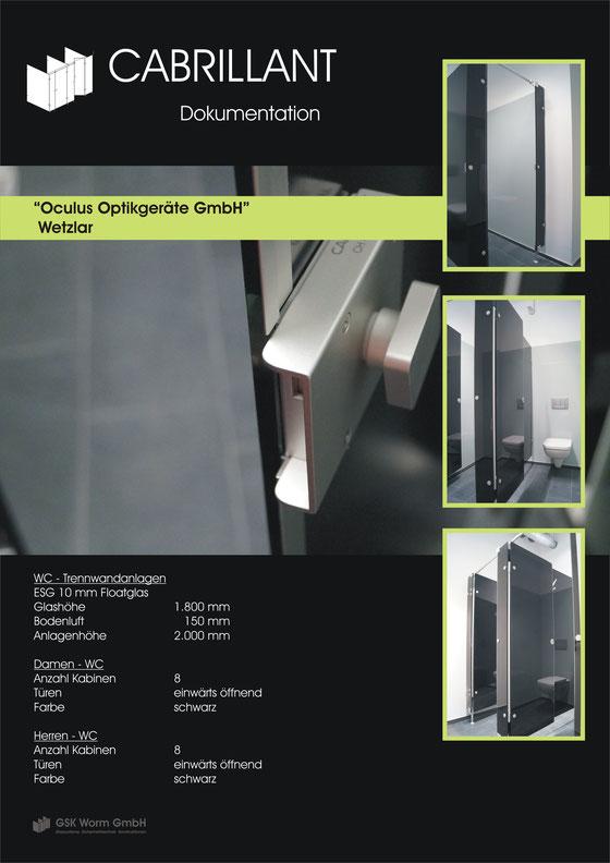WC- Trennwände CABRILLANT, OCULUS Optikgeräte GmbH, Wetzlar