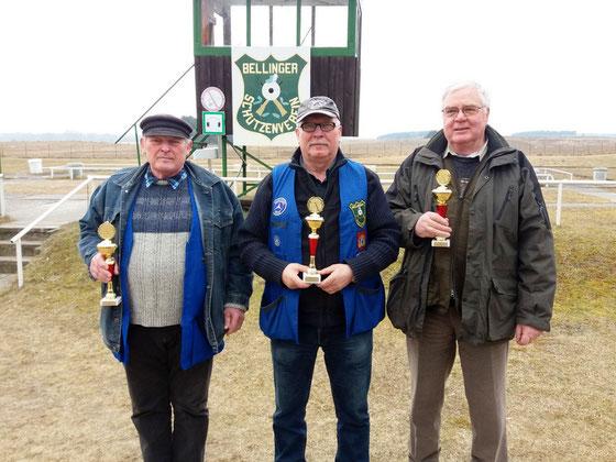 Gewinner der Seniorenklasse B von links nach rechts: Burkhard Kühl, Frank Hoellge und Josef Berges