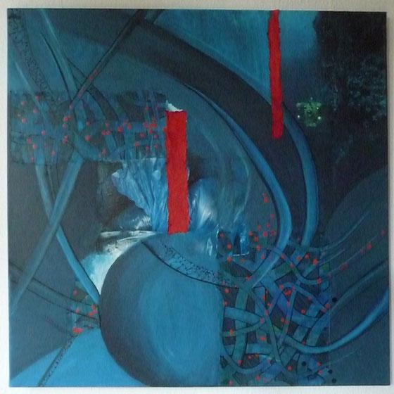 Papiercollage, Mischtechnik, 80 x 80