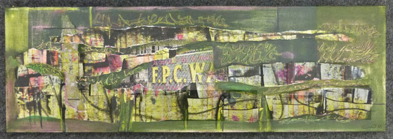 """F.P.C.W."", 30x15 Mixed Media Collage"