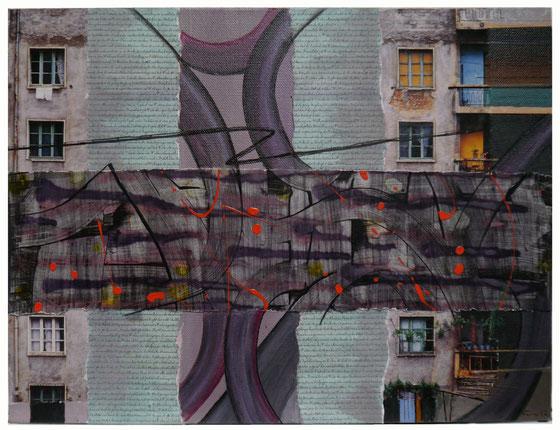 Papiercollage Mischtechnik, 40x30, verkauft
