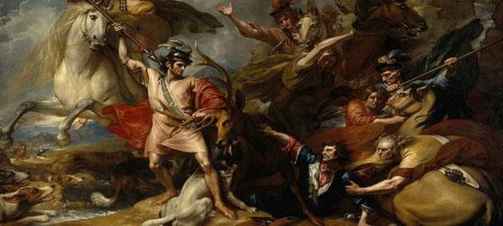 """Ausschnitt aus dem Gemälde """"Der Tod des Hirsches"""" von Benjamin West, 1786."""