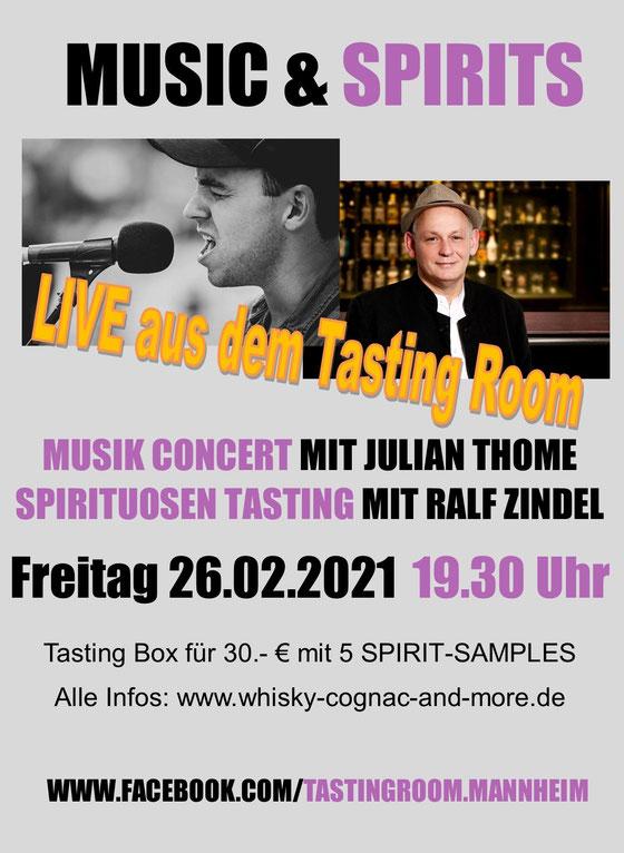 """Music meets Spirits"" - 6.2.2021 - Tasting Room Mannheim"
