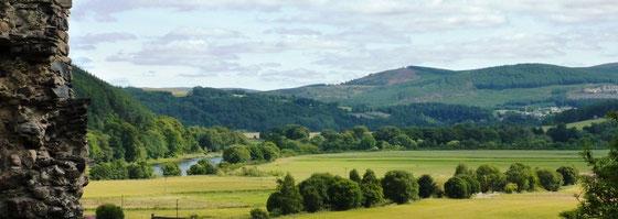 Blick vom Rothes Castle auf das Spey-Tal