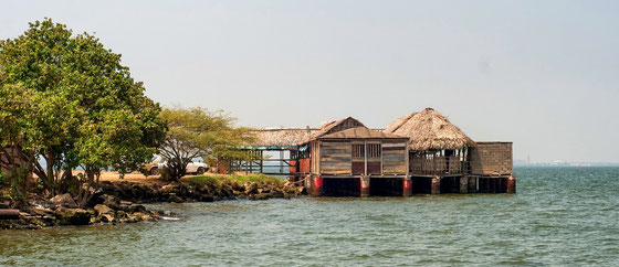palafitos -Pfahlbauten auf der Guajira-Halbinsel