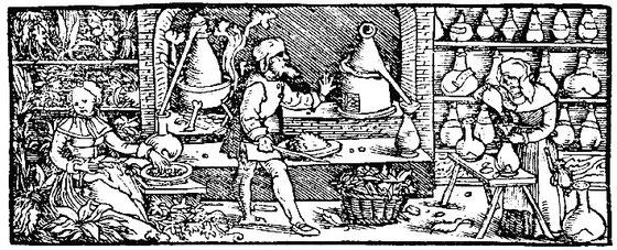 1550 Herstellung Alkohol- Kräuteressenzen im 16. Jahrhundert