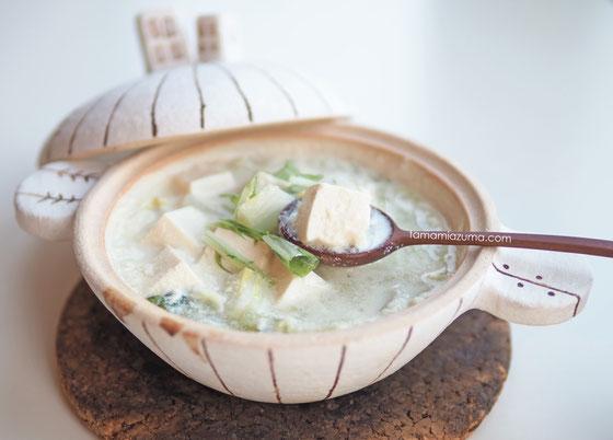 Cocciorino土鍋で大豆づくし「豆乳スープ」