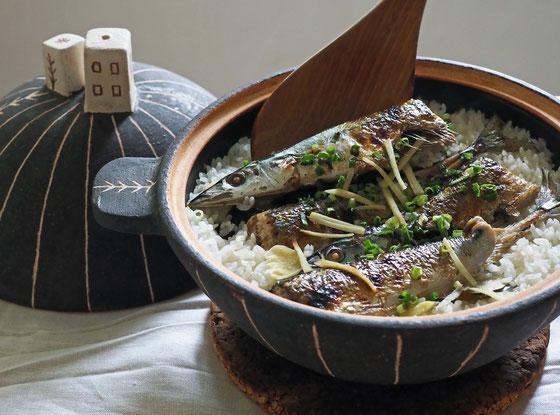 秋刀魚ごはん/3合炊き土鍋 Cocciorino