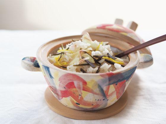 新ショウガの炊き込みごはん/ミニ土鍋 Cocciorino