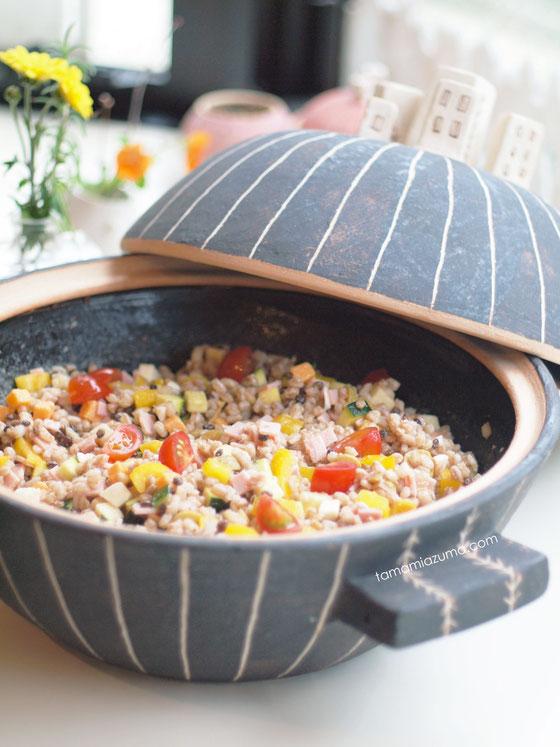 「麦ごはんサラダ」大土鍋 TAMA-DONABE