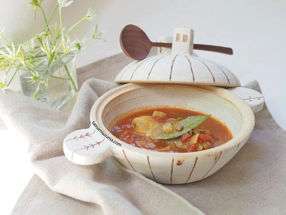 「ロールキャベツとレンズ豆のスープ」Cocciorino土鍋