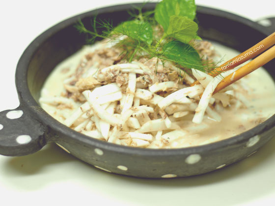 「夏の大根サラダ」 グラタン皿 Cocciorino
