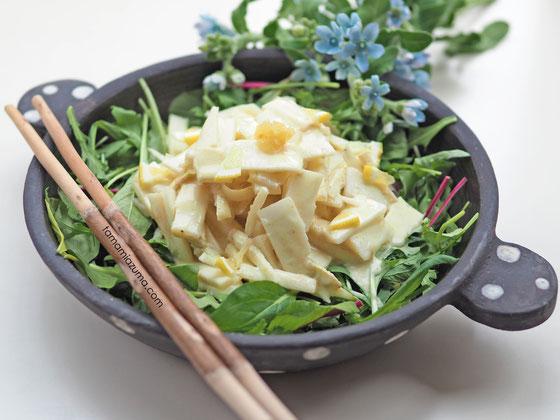 ウドのサラダ/Cocciorinoグラタン皿  ※グラタン皿はどんな料理にも合います