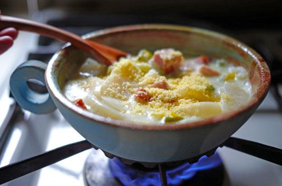 米粉のカブミルクスープ/空と土の耐熱スープ皿