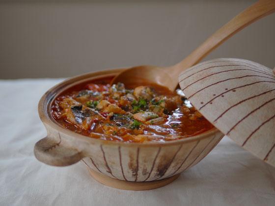 さわらのトマトスープ/土鍋 Cocciorino