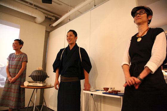 右から(敬略)料理家 サカイ優佳子、燗つけ師 五嶋慎也、わたし我妻珠美 Phot by Key Kagawa