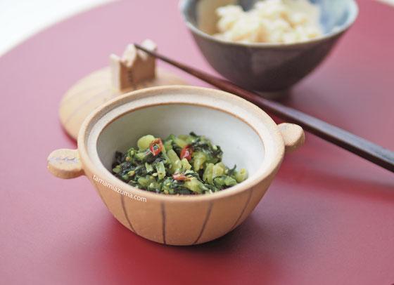 野沢菜漬けと玄米 /Cocciorinoミニミニ土鍋