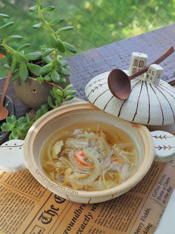 「エノキとささみのさっぱり汁」土鍋Cocciorino